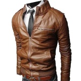 Cheap Men S Slim Pu Leather Motorcycle Rider Jacket Brown Intl