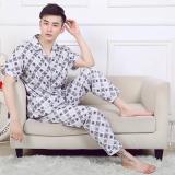 Buy Men S 100 Cotton Thin Plaid Pajama Set Ms6011 Ms6011 Cheap China