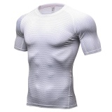 Low Price Men S 3D Print Athletic Compression Under Base Layer Sport Shirt White Intl