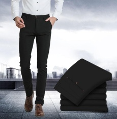 Wholesale Men S Black Slim Fit Stretchy Pants Business Casual Formal Trousers Full Length Straight Suit Pants Intl