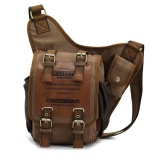 Who Sells The Cheapest Mens Boys Vintage Canvas Shoulder Military Messenger Bag Sling Sch**l Bags Chest Military Leather Patchwork Messenger Bag Great Christmas Birthday Gift For Families And Friends Intl Online