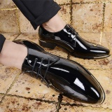 Mens Business Pointed Toe Shinny Leather Shoes Lace Up Formal Plus Black Intl Best Buy
