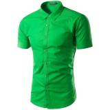 Men S Casual Sim Fit Button Down Collar Short Sleeve Shirt Green Price Comparison