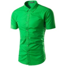 New Men S Casual Sim Fit Button Down Collar Short Sleeve Shirt Green