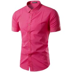 Sale Men S Casual Sim Fit Button Down Collar Short Sleeve Shirt Rose Oem Original