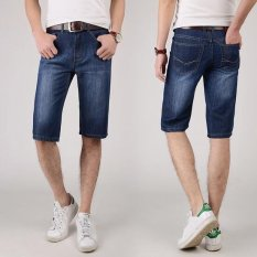Best Reviews Of Men S Denim Shorts Male 7 Seven Points Breeches Tide Pants 816 Dark Blue Shorts Thin