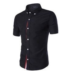 Compare Price Men S Casual Slim Fit Short Sleeve Button Down Shirt Black On Hong Kong Sar China