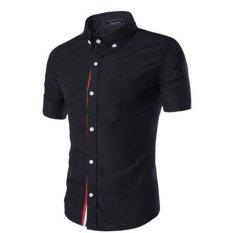 Buy Men S Casual Slim Fit Short Sleeve Button Down Shirt Black Oem