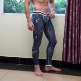 Low Cost Men S Cotton Geometric Pattern Thermal Underwear Warm Underpants Wangjiang S Xl Dark Green Intl