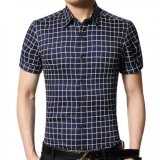 Mens Cotton Plaid Dress Shirt Short Sleeve Casual Shirts Dark Blue Oem Cheap On China
