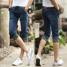Top Rated Men S Cropped Jeans Denim Middle Pants Thin Street Style Ripped Seventh Jeans Slim Fit Breeches Jeans Pirate Shorts For Men Intl