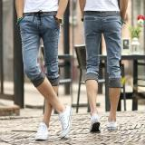 Men S Cropped Jeans Denim Middle Pants Thin Street Style Ripped Seventh Jeans Slim Fit Breeches Jeans Pirate Shorts For Men Intl Shopping