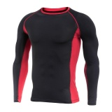 Great Deal Men S Dry Fit Compression Athletic Long Sleeve T Shirts Black Red Intl