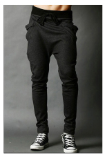 Buy Men S Fashion Casual Harem Pants Solid Color Pants Wei Pants Dark Grey