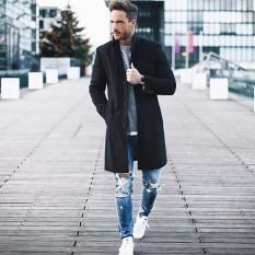 Price Mens Fashion Trench Cardigan Coat Winter Long Jacket Double Breasted Overcoat Men Windbreaker Coats Intl Oem Online