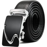 Men S Genuine Leather Ratchet Belt With Automatic Sliding Buckle Size 45 Inch Intl China