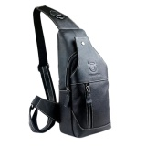 Mens Genuine Leather Sling Bag Single Shoulder Bag Men Chest Crossbody Satchel Waist Pack Color Black Deal