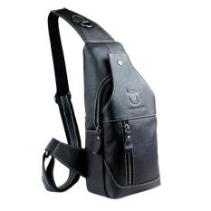 Top Rated Mens Genuine Leather Sling Bag Single Shoulder Bag Men Chest Crossbody Satchel Waist Pack Color Black