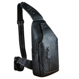 Sale Mens Genuine Leather Sling Bag Single Shoulder Bag Men Chest Crossbody Satchel Waist Pack Color Black Oem Original