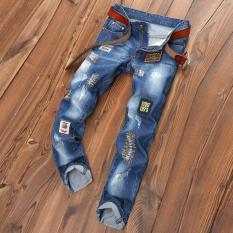 Review Men S Hole Jeans Straight Ripped Jeans Embroidery Patch Pants Male Denim Pants Trousers Intl On China