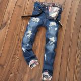 Men S Hole Jeans Straight Ripped Jeans Male Denim Pants Trousers Intl Cheap