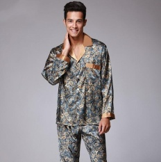 Men S Imitation Silk Pajamas Long Sleeved Trousers Two Piece Home Furnishing Suit Intl Price Comparison