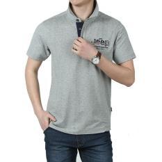 New Men S Lapel Cotton Short Sleeve T Shirt Grey Intl
