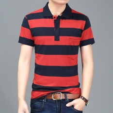 Price Comparisons Men S Lapel Stripes Polo Shirt Intl