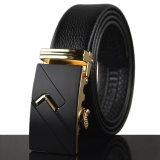Men S Leather Automatic Buckle Belt 120Cm Gold Intl Review