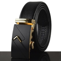 Best Rated Men S Leather Automatic Buckle Belt 120Cm Gold Intl