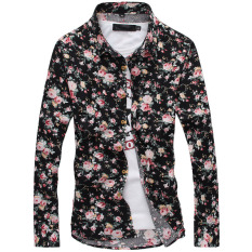 Discounted Floral Print Fashion Long Sleeve Autumn Floral Print Men S Casual Shirt Men Shirts No 2 Color No 2 Color