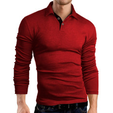 Sale Men S Long Sleeved Shirt Polo Shirt Cotton And Polyester Wine Red Intl On China