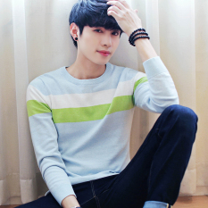 Cheap Korean Style Knit Male Thin Base Shirt T Shirt 1701 Water Blue