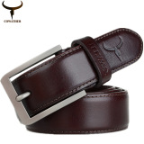 Lowest Price Cowather Men S 100 Top Cow Genuine Leather Luxury Strap Buckle Male Belts For Men 3 2Cm Width Xxs Xxl Brown Intl