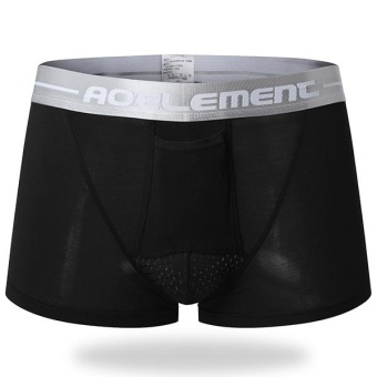 Mens Modal U Convex Separation Physiological Boxers Briefs Health Care Casual Underwear Black