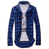 Discount Men S Plaid Shirts 2016 Fashion Long Sleeve Slim Fit Cotton Shirt Free Styles Man Clothes Mens Shirt Asian Size Dark Blue Oem On China