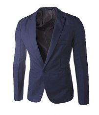 Brand New Mens Polyester Viscose Slim Fit Blazers Coat Dark Blue Intl