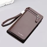 Men S Pu Leather Long Zipper Purse Business Wallet Handbag Brown Intl Price