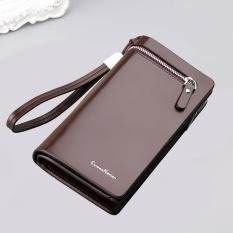 Review Men S Pu Leather Long Zipper Purse Business Wallet Handbag Brown Intl Oem On China
