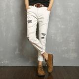 Sale Men S Size 27 36 Fashion Jeans Embroidery Teenagers Pants Broken Holes Lovers Jeans Man Nine Points Trousers Intl Oem Original