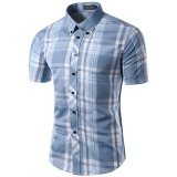 Get Cheap Men S Slim Fit Button Down Contrast Plaid Short Sleeve Shirt Light Blue