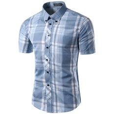Price Comparisons For Men S Slim Fit Button Down Contrast Plaid Short Sleeve Shirt Light Blue