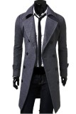 Men S Slim Fit Double Breasted Button Coat Grey Cheap