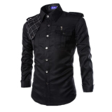 Men S Slim Fit Long Sleeve Pockets Military Style Design Casual Shirt Black On Line