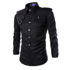 Men S Slim Fit Long Sleeve Pockets Military Style Design Casual Shirt Black Discount Code