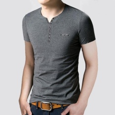 Where Can You Buy Mens Slim Fit V Collar T Shirt Short Sleeve Shirt Casual Tee Tops Gy Xl Intl