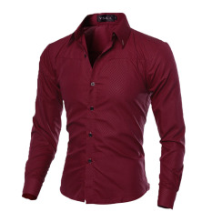 Mens Slim Long Sleeve Dress Shirts(wine Red) By Sportschannel.