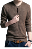 Men S Solid Color Pullover Wool Casual Knitwear V Neck Sweater Brown Promo Code