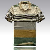 For Sale Men S Striped Lapel Short Sleeve T Shirt Cotton Polo Shirt Green