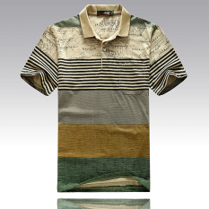 Deals For Men S Striped Lapel Short Sleeve T Shirt Cotton Polo Shirt Green